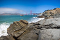 Panorama of the golden gate suspension bridge in frisco bay spanning opening san francisco into pacific ocean Stock Images