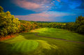 Panorama golf and cc fairway with nice sky Royalty Free Stock Photos