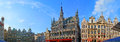The panorama of the grand place brussels belgium june is famous for its splendor buildings with stone bronze and golden Stock Photography