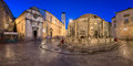 Panorama of Great Onofrio Fountain and Holy Saviour Church in th Royalty Free Stock Photo