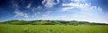 Panorama in green hills Royalty Free Stock Photo