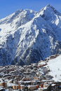 Panorama of the hils and hotels les deux alpes france french a picture areas in Stock Photography