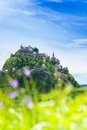 Panorama of hochosterwitz castle in austria view huge stronghold behind spring blooming flowers Royalty Free Stock Photo
