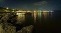 Panorama, horizontal view of Crimean mountains with rocky coastl Royalty Free Stock Photo