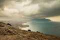 Panorama, horizontal view of Crimean mountains with rocky coastl Royalty Free Stock Photo