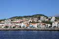 Panorama of horta on faial azores portugal view the town the island Royalty Free Stock Images