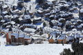 Panorama of the hotels les deux alpes france french a picture sky areal and in Royalty Free Stock Photos