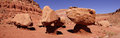 Panorama huge boulders precariously balanced on tiny pedestals in the desert highlands near marble canyon arizona Royalty Free Stock Images