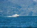 Panorama of the hydrofoil and the background piona on the lake of como pianello del lario italy Stock Photography