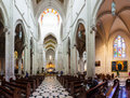 Panorama of interior of almudena cathedral in madrid spain april april spain santa maria la real de la main Stock Images