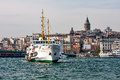 Panorama of istanbul and the bosporus with the ship in the foreground turkey photo galata tower bridge passenger Stock Photo
