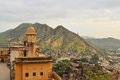 Panorama in jaipur from amber fort india rajasthan ancient indian palace architecture vertical panoramic view Royalty Free Stock Photo