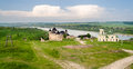 Panorama of khotyn fortress on dniester riverside ukraine Stock Photography