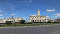 Panorama of the komsomolskaya square three station square or simply three stations moscow russia thanks to ornate railway terminal Stock Photos