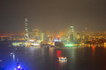 Panorama of kowloon island at night hong kong Royalty Free Stock Photography
