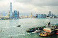 Panorama of kowloon island at sunset ferry pier from hong kong to macao on the right Royalty Free Stock Photos
