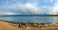 Panorama of the lake with beautiful clouds Royalty Free Stock Photos