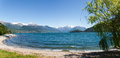 Panorama of the lake of como from the beach pianello del lario italy Stock Image