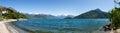 Panorama of the lake of como from the beach pianello del lario italy Stock Photos