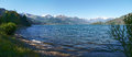 Panorama of the lake of como from the beach pianello del lario italy Royalty Free Stock Images
