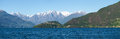 Panorama of the lake of como from the beach pianello del lario italy Stock Images