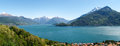 Panorama of the lake of como from the mountains pianello del lario italy Royalty Free Stock Photo