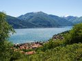 Panorama of the lake of como from the mountains pianello del lario italy Stock Photography