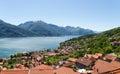 Panorama of the lake of como from the mountains pianello del lario italy Stock Photos