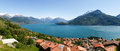 Panorama of the lake of como from the mountains pianello del lario italy Royalty Free Stock Image