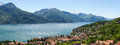 Panorama of the lake of como from the mountains pianello del lario italy Royalty Free Stock Images