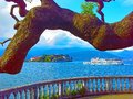 Panorama of Lake Maggiore and island Isola Bella with Alps mountains in background, Piedmont, Italy Royalty Free Stock Photo