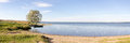 Panorama of lake Plesheyevo in the fall. Pereslavl-Zalessky. Russia. Royalty Free Stock Photo