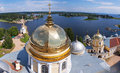 Panorama lake russian monastery panoramic landscape image which can be used as a banner background or wallpaper the seliger russia Royalty Free Stock Photos