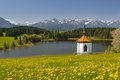 Panorama landscape in bavaria with lake chapel and alps mountains spring Royalty Free Stock Images