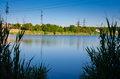 Panorama landscape. Beautiful summer lake with cloudy sky background.Milk water Royalty Free Stock Photo
