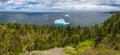 Panorama landscape of Newfoundland coast with icebergs Royalty Free Stock Photo