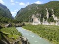 Panorama landscape of river noguera ribagorçana in mont rebei gorge area Stock Image
