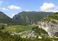 Panorama landscape of river noguera ribagorçana in mont rebei gorge area Royalty Free Stock Images