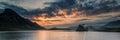 Panorama landscape sunrise over mountain lake Royalty Free Stock Photo