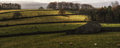 Panorama landscape traditional stone barn in autumnal countryside Royalty Free Stock Photography