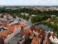 Panorama of lubeck panoramic view in germany with the river trave Stock Photography
