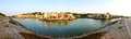 Panorama of the luxury hotel during sunset and beach ras al khaima uae Royalty Free Stock Photo