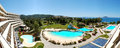 Panorama of the luxury hotel with swimming pool and beach Stock Image
