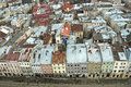 Panorama of Lvov city from height Royalty Free Stock Image