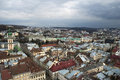 Panorama of Lvov city from height Stock Images