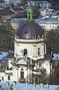 Panorama of Lvov city from height Stock Photos