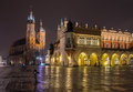 Krakow old city at night. Market Square at night, panorama.