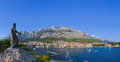 Panorama of makarska and statue of st peter at croatia travel background Royalty Free Stock Images