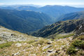 Panorama from malyovitsa peak to rila monastery rila mountain bulgaria Stock Photo