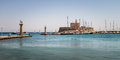 Panorama of Mandraki, the Oldest harbor of Rhodes Island Royalty Free Stock Photo